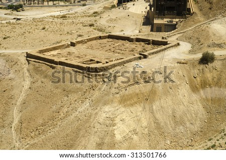 Ruins of Roman fortifications walls near Masada fortress in Israel, Middle East landmarks - stock photo