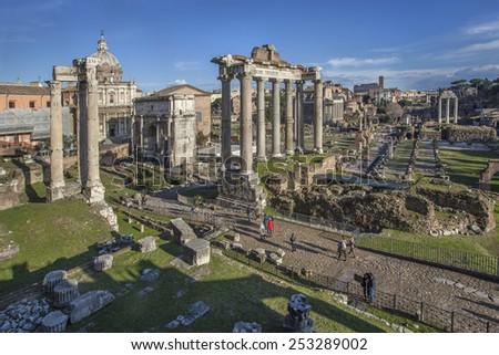 Ruins of Roman Forum in Rome, Italy - stock photo