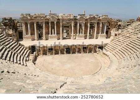 Ruins of Roman theater in ancient Hierapolis,Pamukkale, Turkey - stock photo