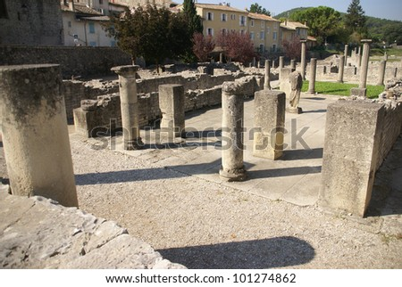 Ruins of Roman villas  in the Villasse Roman ruins, Vaison la Romaine, France..