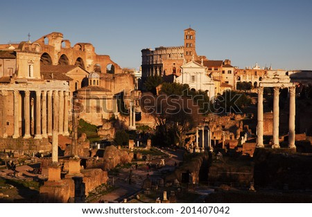 Ruins of Rome Forum in Rome, Italy - stock photo