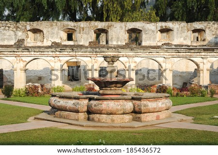 Ruins of Santa Clara convent at Antigua on Guatemala - stock photo