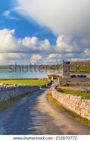 Ruins of Shanmuckinish Castle near Muckinish West, Ireland - stock photo