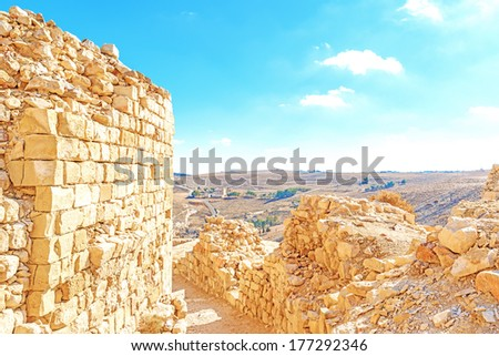 Ruins of Shawbak castle of a Crusader in Jordanian desert, Shawbak, Jordan. - stock photo