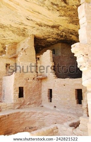 Ruins of Spruce tree house in Mesa Verde National Park, CO, USA. Mesa Verde was inhabited by the Ancestral Pueblo people from AD 600 to 1300.  - stock photo