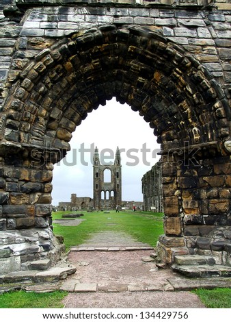 Ruins of St Andrews Cathedral, Scotland, United  Kingdom - stock photo