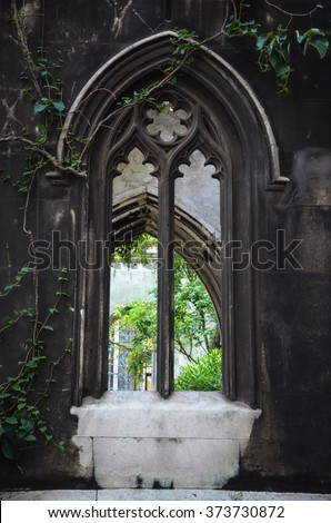 Ruins of St Dunstan-in-the-East Church in detail, London, UK