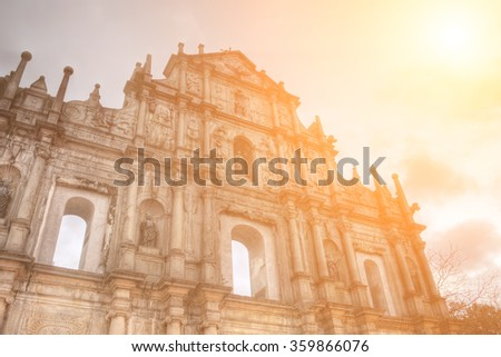 Ruins of St. Paul's, the famous landmark in Macau with color. - stock photo