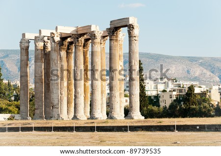 Ruins of Temple of Olimpian Zeus, Athens, Greece