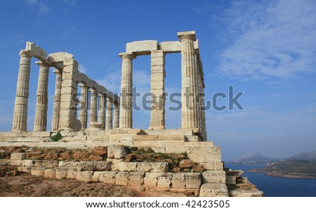 Ruins of Temple of Poseidon, Athens (Greece) - stock photo