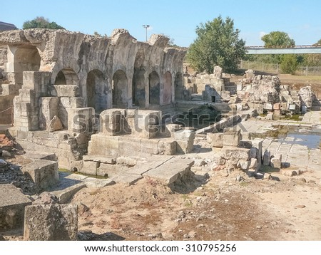 Ruins of Terme Romane meaning Roman Baths in Fordongianus, Italy