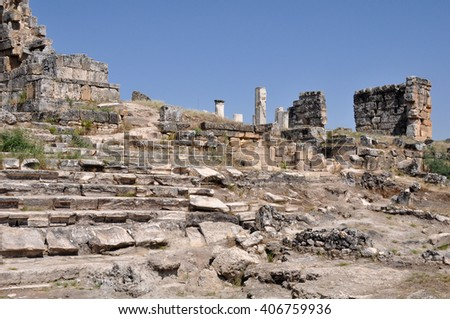 Ruins of the ancient city of Hierapolis in Turkey