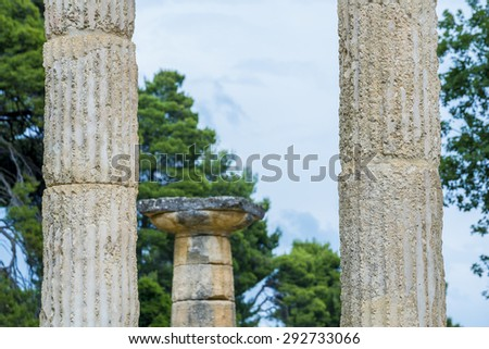 Ruins of the ancient city of Olympia, Greece - stock photo