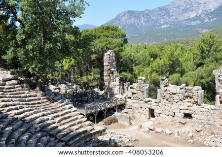 Ruins of the ancient city of Phaselis , on the territory of modern Turkey, province of Antalya