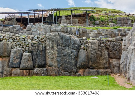 Ruins of the ancient Inca fortress Saksaywaman near Cusco in Sacred Valley, Peru (since 1983 was added as part of the city of Cusco to the UNESCO World Heritage List)