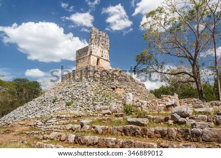 Ruins of the ancient Mayan city of Labna, Mexico - stock photo