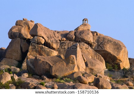 Ruins of the ancient temple in Hampi, Karnataka, India - stock photo