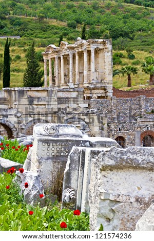 Ruins of the ancient town Ephesus in Turkey - stock photo