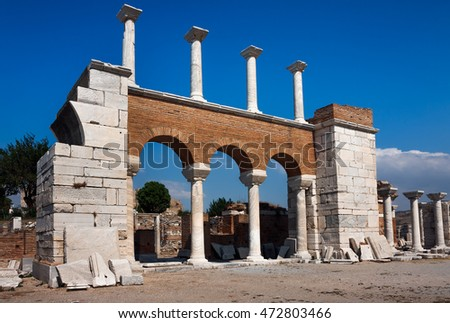 Ruins of the Basilica of St. John the Apostle in Selcuk / Ephesus. Turkey
