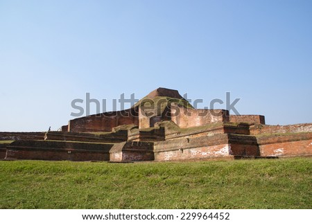 Ruins of the Buddhist Vihara at Paharpur, Bangladesh - stock photo