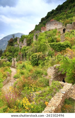 Ruins of the Byzantine city of Mystras covered with vegetation, Greece - stock photo