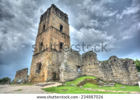Ruins of the Church bell tower of the Old Panama City, Panama. - stock photo