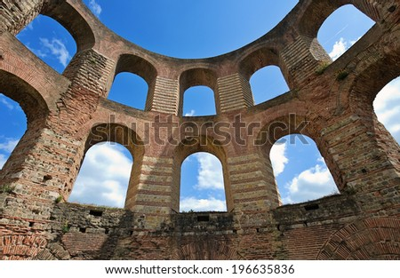 Ruins of the emperors thermal bath in Trier - stock photo