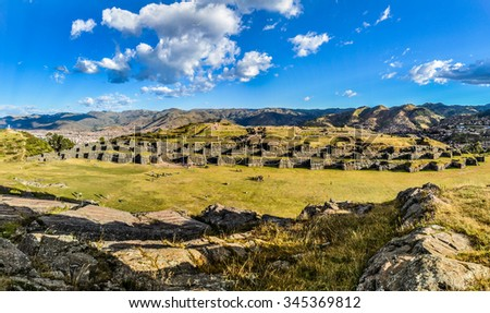 Ruins of  the fortress of Saqsaywaman in the capital of Incas, Cusco, Peru - stock photo
