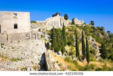 Ruins of the fortress of St John over Kotor, Montenegro - stock photo