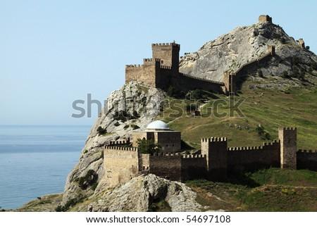 Ruins of The Genoa Fortress in Sudak, Crimea - stock photo