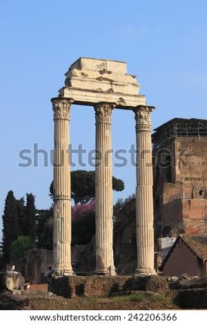 Ruins of the Giulia Basilica in the Roman Forum. Rome, Italy - stock photo