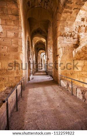 Ruins of the largest colosseum in El Jem,Tunisia. UNESCO - stock photo