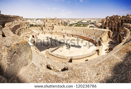 Ruins of the largest colosseum in in North Africa. El Jem,Tunisia. UNESCO - stock photo