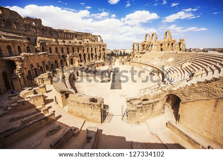 Ruins of the largest colosseum in in North Africa. El Jem,Tunisia. UNESCO