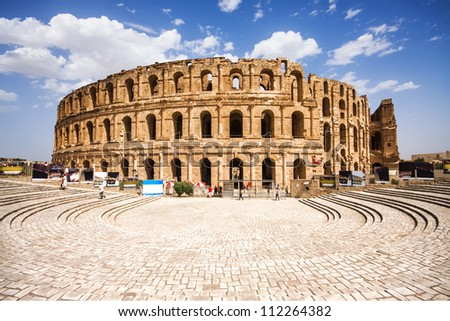 Ruins of the largest colosseum in North Africa. El Jem,Tunisia. UNESCO - stock photo