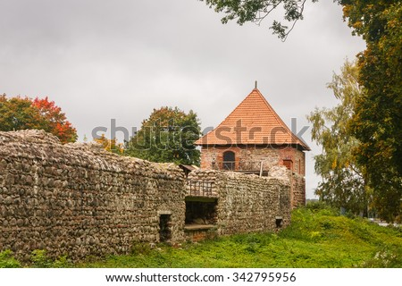 Ruins of the medieval castle in Trakai, Lithuania - stock photo