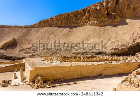 Ruins of the Mortuary temple of Nebhepetre Mentuhotep - Egypt - stock photo