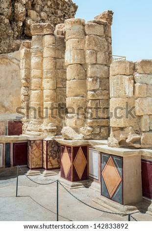 Ruins of the North Palace of ancient Masada fortress near Dead Sea - Israel - stock photo
