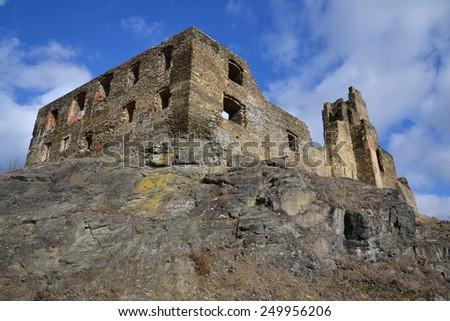 Ruins of the Okor castle,  Czech Republic - stock photo