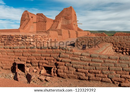 Ruins of the Pecos Pueblo Mission Church at Pecos National Historic Park near Pecos, New Mexico - stock photo