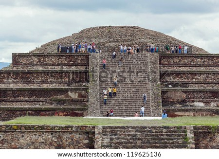 ruins of the pyramids in Teotihuacan - Mexico - stock photo