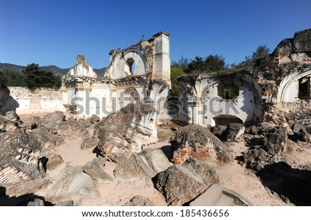 Ruins of the Recoleccion church at Antigua on Guatemala - stock photo