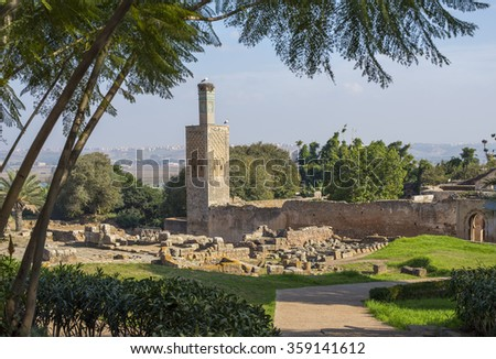 Ruins of the Roman city known as Sala Colonia and the Islamic complex of Chellah, mosque and minaret ruined.