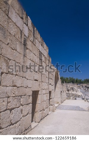 Ruins of the Roman city Scythopolis in the Beit Shean National Park , Israel