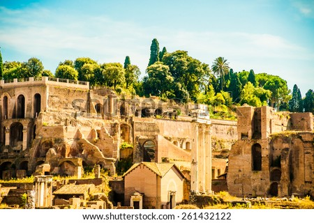 Ruins of the Roman Forum in Rome, Italy. Rome is the 3rd most visited city in the European Union. - stock photo