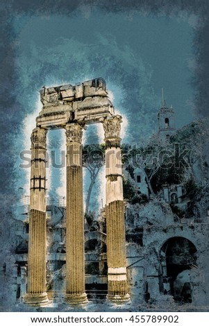 Ruins of the Roman Forum in Rome, Italy. Rome is the 3rd most visited city in the European Union. Vintage painting, background illustration, beautiful picture, travel texture - stock photo