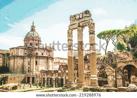 Ruins of the Roman Forum in Rome, Italy. Vintage travel postcard. - stock photo