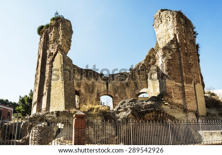 ruins of the Roman Venus temple in the old city of Baia, near Naples - stock photo