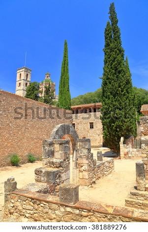 Ruins of the Royal Palace at the Monastery of Santa Maria de Santes Creus in Catalonia, Spain - stock photo