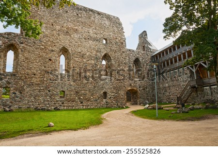 Ruins of the Sigulda Medieval Castle  - stock photo